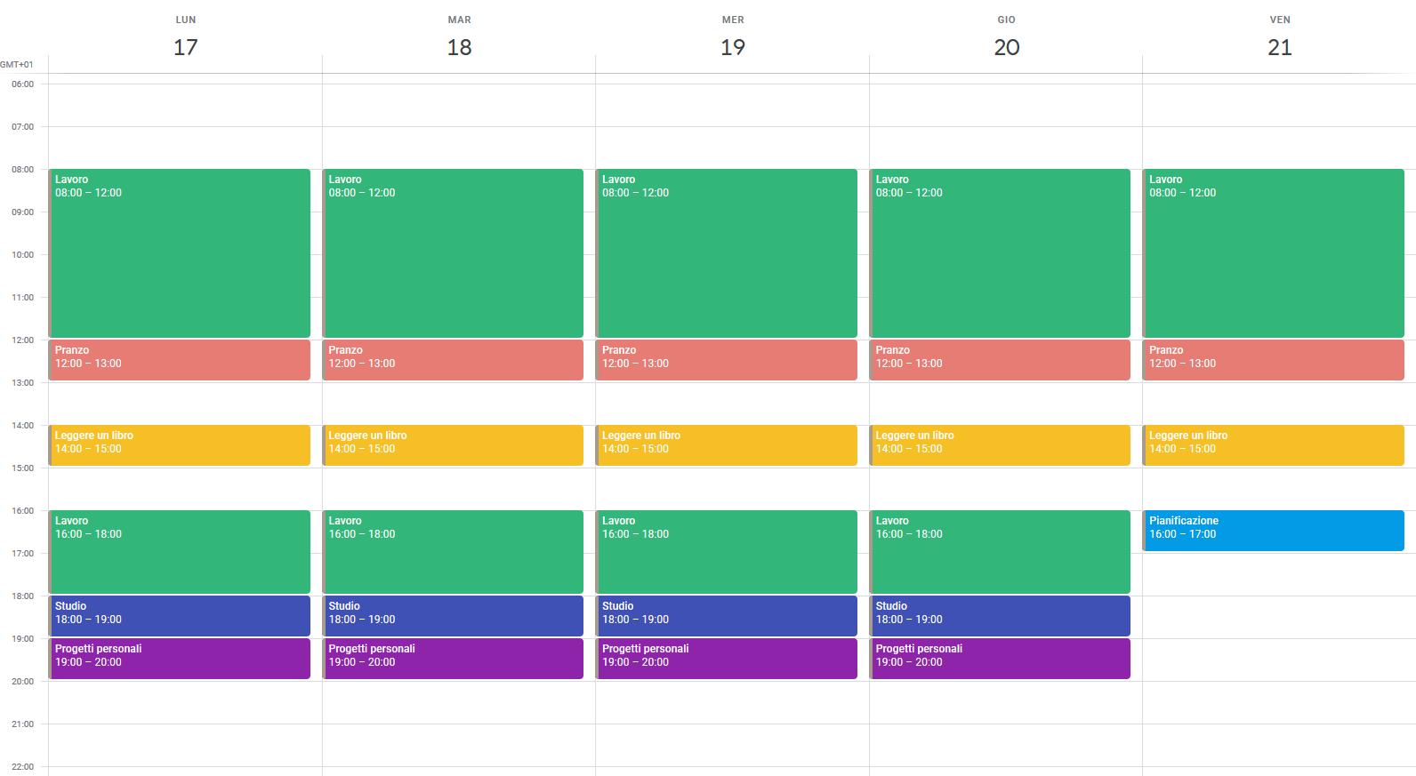 Pianificazione del tempo con Google Calendar